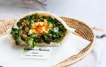 lebanese food: Tabbuleh and Hummus,  parsley salad vegan and Lebanese food