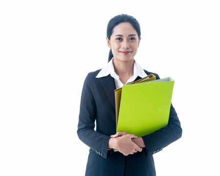 Asian beautiful smart  businesswoman with black long hair is the executive or manager held the files and smiling with confidence  in successful on isolated white background