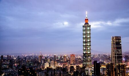 Taipei, Taiwan: Tourists go sightseeing the cityscape panorama view the tallest building and the famous landscape which the beautiful place for travel  in Taiwan from Elephant mountain