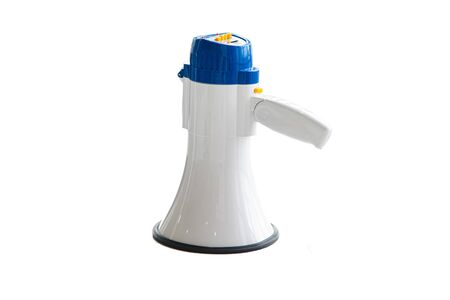 Blue megaphone for shouting, communication with the people, crowd on isolated white background Imagens