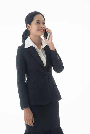 Job, career and occupation concept. Asian young confident and successful business woman with smarthphone on isolated white background