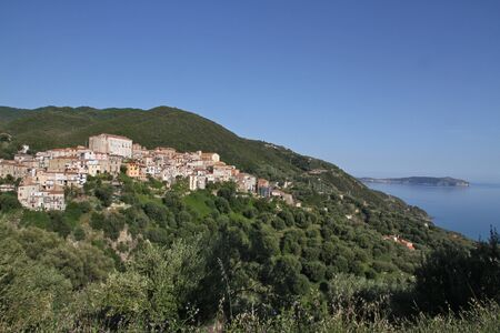 palinuro: Medieval Old Town of Pisciotta - Italy - Cilento -  Background  right  shows Capo Palinuro