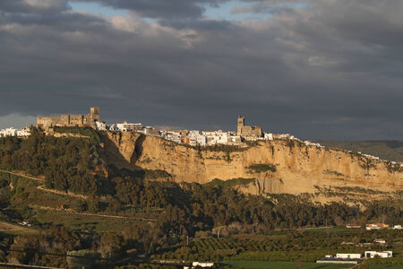 Scenic view of Arcos de la Frontera, Andalusia, Spain, in Evening Light with Dark Clouds