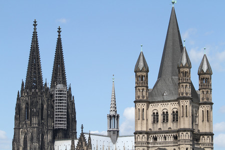World Famous Cologne Cathedral  left  and Gross St Martin  Great Saint Martin , one of Cologne
