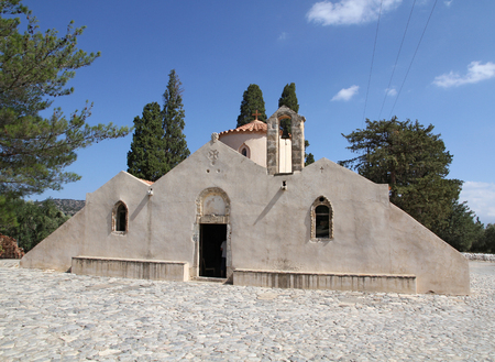supposed: Front view of the old Byzantine church of Panagia Kera, near the village of Kritsa on the Greek island of Crete. Being one of the most important churches of Crete, it is dedicated to the Assumption of the Virgin. It is supposed to be built in the 13th or