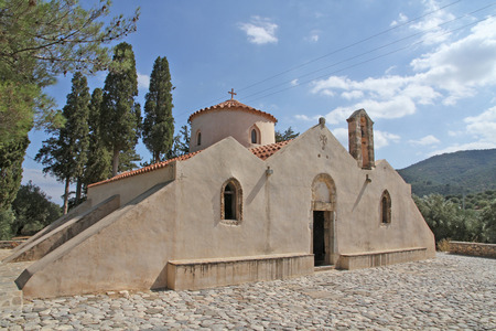 Front view of the old Byzantine church of Panagia Kera, near the village of Kritsa on the Greek island of Crete. Being one of the most important churches of Crete, it is dedicated to the Assumption of the Virgin. It is supposed to be built in the 13th or