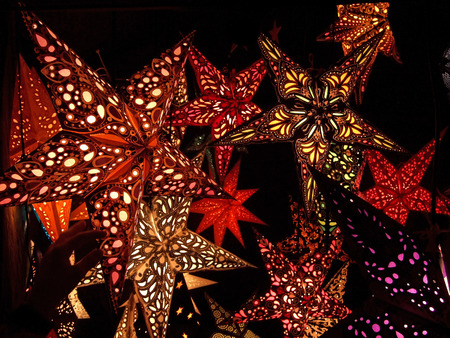Assortment of colorful star-shaped paper lanterns