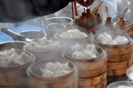 Dumplings and other food at the Food Market in Beijing in China