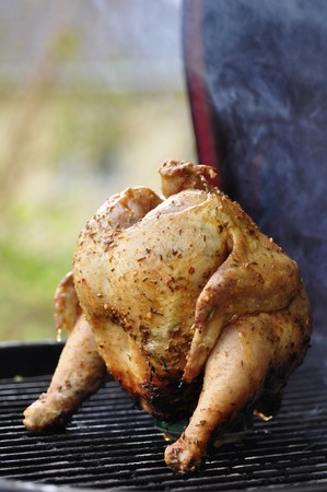 Marinated and Barbecued Chicken stuffed with a Beer Can in Sweden Stock Photo - 7965938