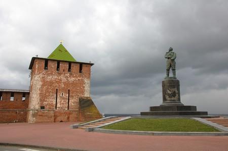 The Chkalov monument at the south-east corner of the kremlin in Nizhny Novgorod, Russia photo