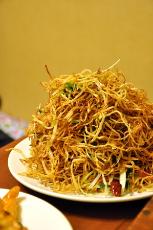 Stir Fried Potato Slices served at a restaurant in Beijing, China