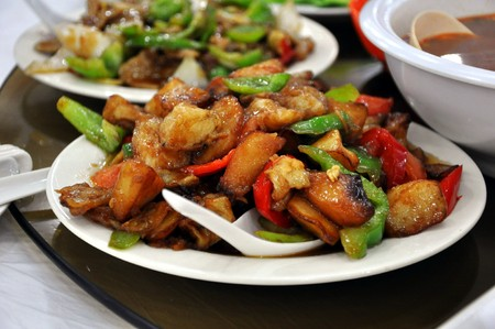stir fry: Stir Fried Chicken with Pineapple served at a restaurant in Beijing, China
