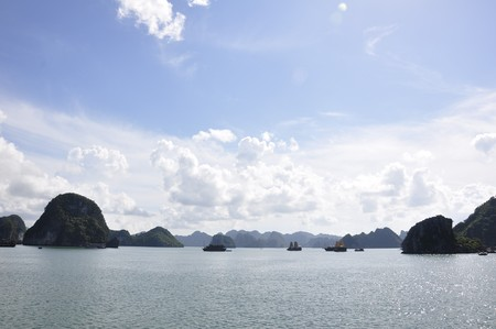 View of the sea and islands at Halong Bay