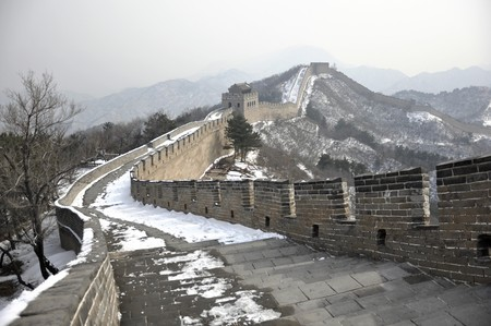 Snow path to the skyline at the Great Wall at Badaling near Beijing, China