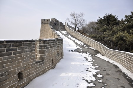 Steep snow path on the Great Wall at Badaling near Beijing, China