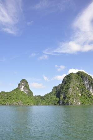 Sea, sky and an island viewed from Halong Bay, Vietnam