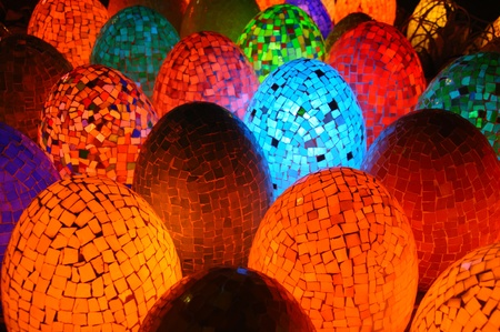 Colorful oval egg shaped lamps in Egypt Stock Photo