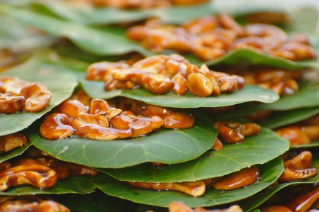 samui: Candied Cashew Nuts on Leaves at a local market in Chaweng, Koh Samui, Thailand