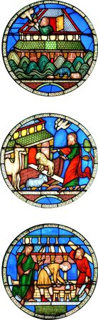 Building of Noahs Ark stained glass windows