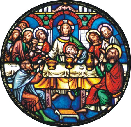 Jesus having supper