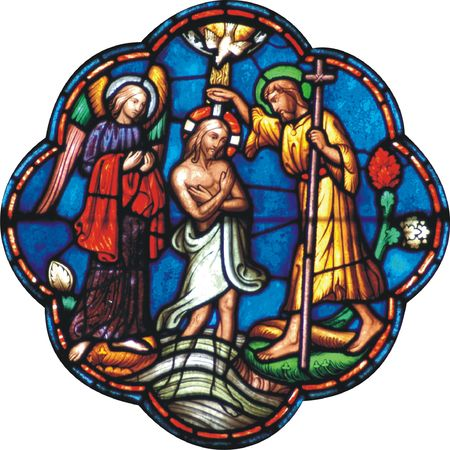 stained glass: Baptism of Jesus