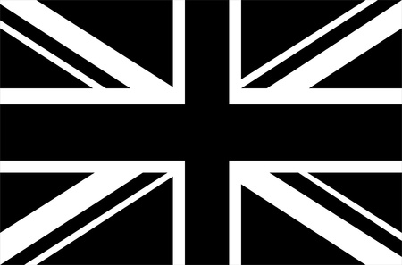 black flag: Black & white Union Jack flag Stock Photo