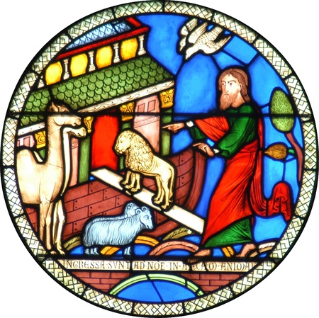 Noahs Ark stained glass circular window photo
