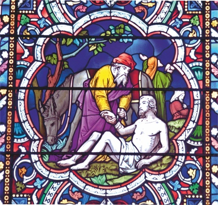 good samaritan: Good Samaritan stained glass window Stock Photo