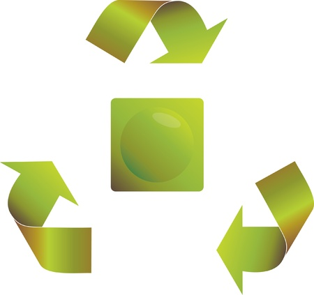 Recycling arrows with a round button Vector