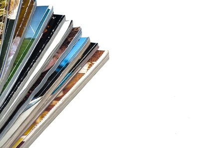 stack of papers: Stack of Magazines on a white background