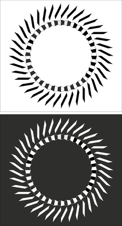 balck and white: Circular balck and white design with straight lines