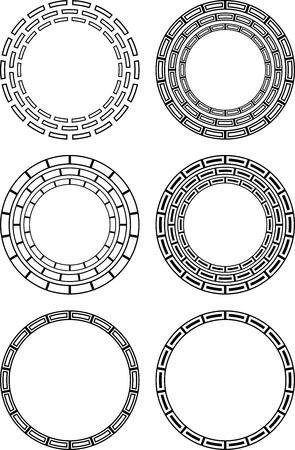 brand identity: Six circular black and white design elements