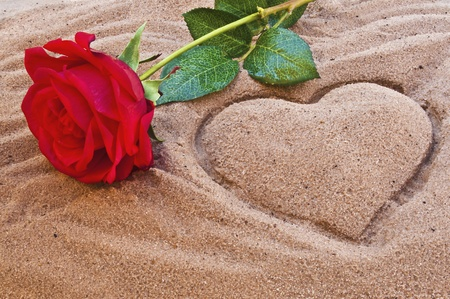 Red rose on the beach with a heart in the sand photo