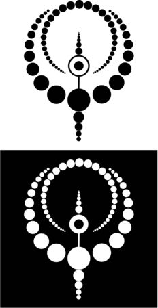 crop circle: Abstract circular design made of circles in black and white