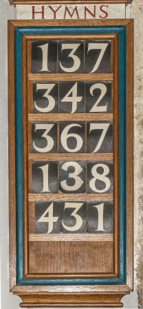 hymn: Wooden Hymn board in a Church or Cathedral