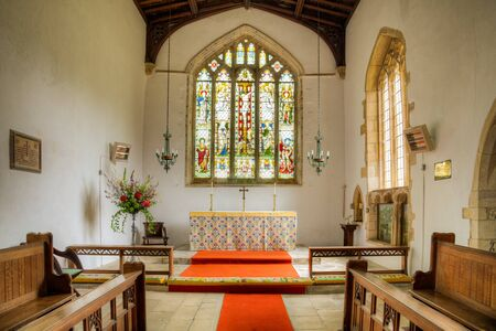 christian altar: Christian Church showing pews leading to Altar