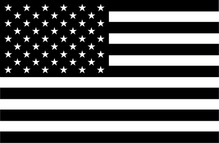 black: American flag in black and white