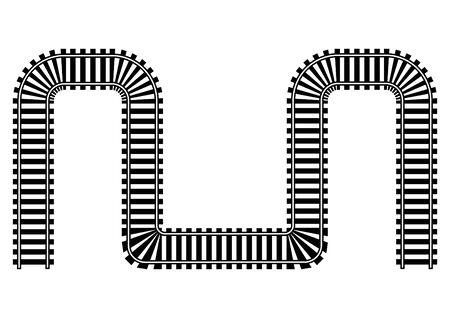 railroad track: Railway railroad track illustration in black and white Stock Photo