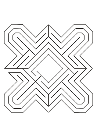 wayout: Labyrinth black and white line illustration