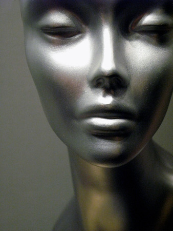 Abstract silver Mannequin facial beauty close-up shot with studio light