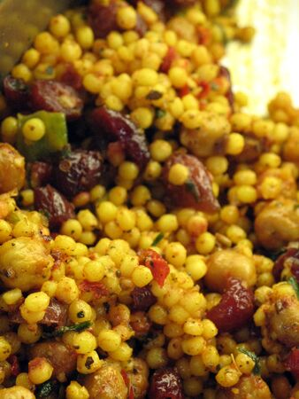 Cous-cous with Cranberries and Chick peas close-up