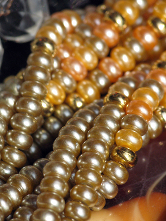 Faux fresh water pearl and gold necklace close=up shot in daylight