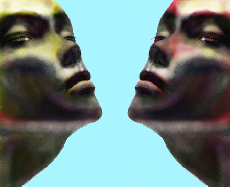sliver: Two female fashion model type close-up faces with an abstract feel, of one yellow tone and one red tone both symetric with lots of dark shades  Illustration