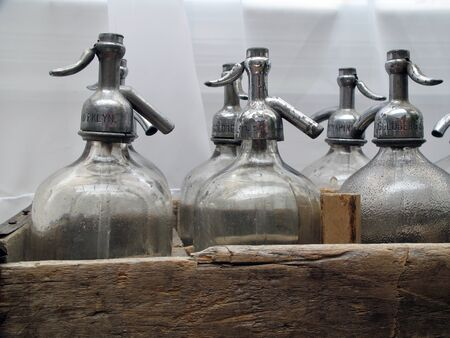 Old Antique seltzer soda bottles for soade jerk close up Stok Fotoğraf