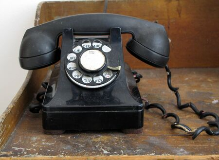 Old Antique black dialing telephone