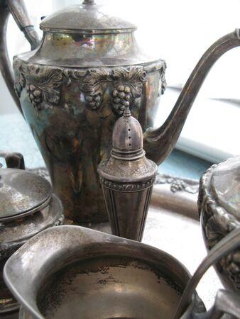 tarnished: Tarnished Silver tea serving set Stock Photo