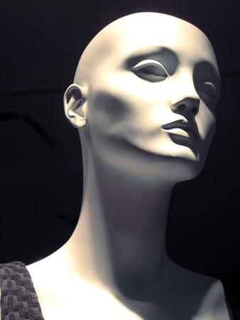 White mannequin head and neck semi-profile