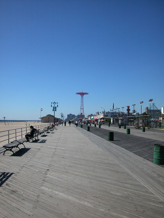 Wide Angel of the Boardwalk at Coney Island empty