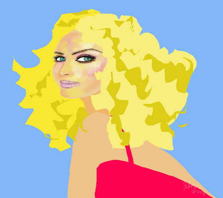 bombshell: Blonde bombshell girl with green eyes and curly hair in red dress illustration Illustration