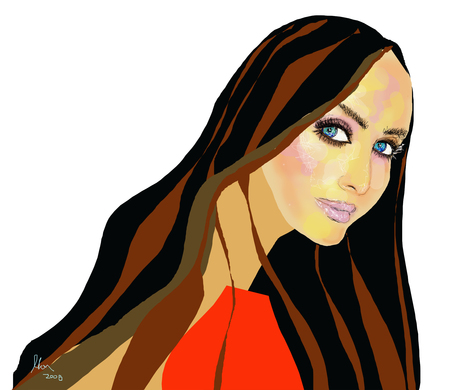 blowing nose: Brunette Bombshell girl in red top illustration